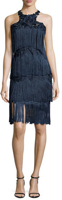 Notte by Marchesa Sleeveless Tiered Fringe Cocktail Dress, Navy $795 thestylecure.com
