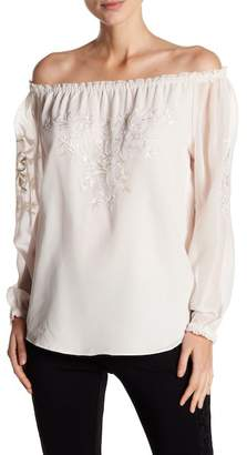 Catherine Malandrino Off-the-Shoulder Floral Embroidery Top