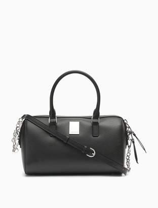 Calvin Klein Saffiano Leather Logo Satchel