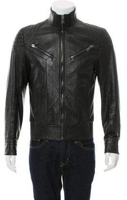 Dolce & Gabbana Leather Cafe Racer Jacket