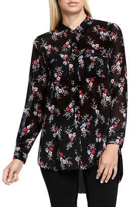 Two By Vince Camuto Floral-Print Button-Down Tunic $89 thestylecure.com