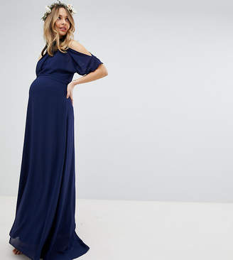 TFNC Maternity High Neck Maxi Bridesmaid Dress With Fishtail
