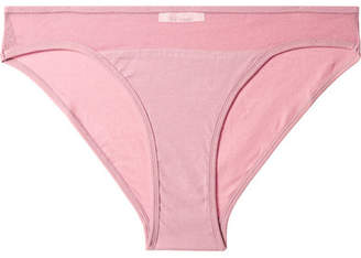 Skin - Onyx Tulle-trimmed Stretch Organic Pima Cotton-jersey Briefs - Antique rose