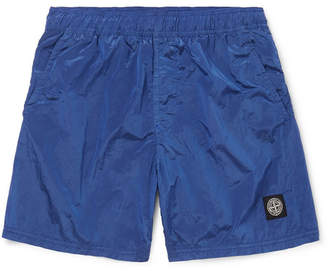 Stone Island Wide-Leg Mid-Length Logo-Appliqued Swim Shorts