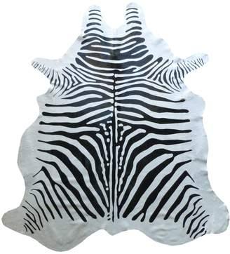 Chesterfield Stenciled Zebra Cowhide Rug