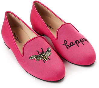 Jon Josef Fuchsia Bee Happy Linen Loafers