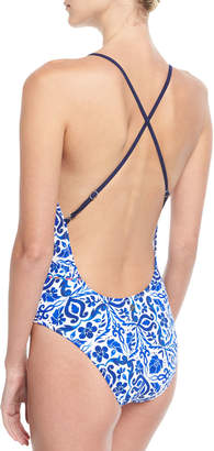 Nanette Lepore Talavera Lace-Up One-Piece Swimsuit