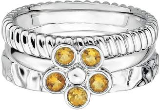 Simply Stacks Sterling Silver Citrine Flower Ring Set
