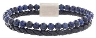 Steve Madden Lapis Beaded & Braided Black Faux Leather Bracelet