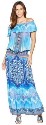 Hale Bob Night Blooms Rayon Stretch Satin Woven Maxi Dress Women's Dress