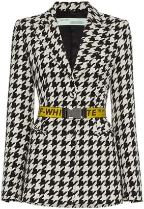 Off-White single breasted houndstooth virgin wool blend blazer