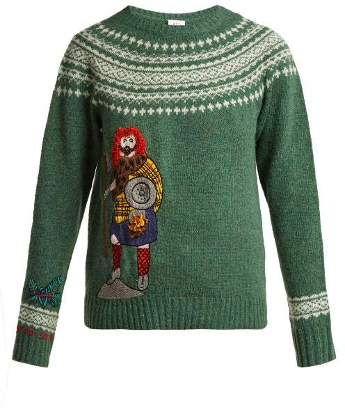 Kilometre Paris - Skye Embroidered Wool Sweater - Womens - Green Multi