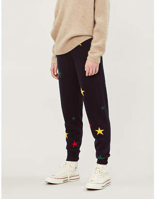 Chinti and Parker Star-pattern tapered cashmere jogging bottoms