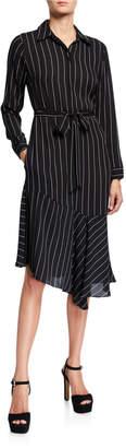 Nanette Lepore Nanette Striped Long-Sleeve Asymmetric Dress