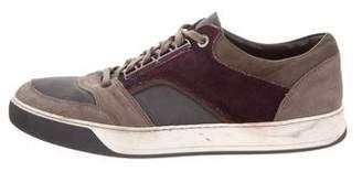 Lanvin Suede-Trimmed Low-Top Sneakers