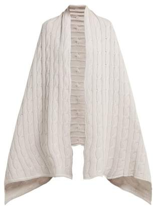 Queene And Belle - Aspen Cable Knit Cashmere Wrap Scarf - Womens - White