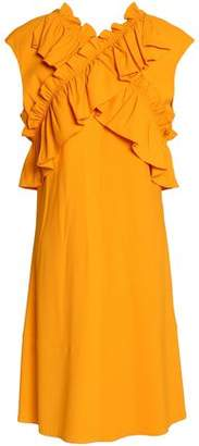 Marni Crossover Ruffle-Trimmed Ruched Crepe Dress