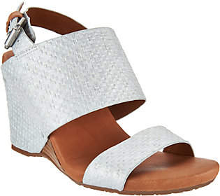 Kenneth Cole Gentle Souls by Gentle Souls Leather Covered Wedge Sandals -Inka