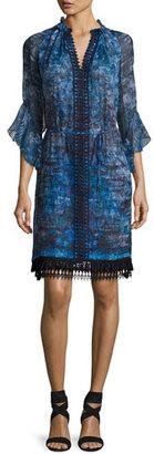 Elie Tahari Rayna 3/4-Sleeve Floral-Print Chiffon Dress, Blue $348 thestylecure.com