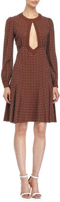 Michael Kors Dot-Print Fit-&-Flare Dress, Nutmeg