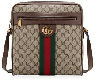 ef29db72efd8 Gucci Canvas Leather Messenger Bag - ShopStyle