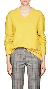 Calvin Klein Women's Embroidered Wool-Cotton V-Neck Sweater - Yellow