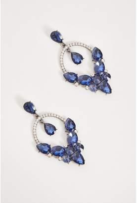 Quiz Navy Statement Jewel Cluster Earrings