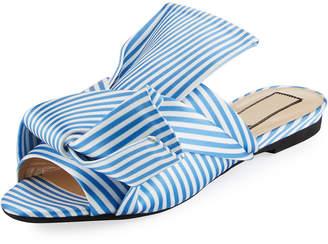 No.21 No. 21 Striped Seersucker Satin Slide Sandal, White/Blue