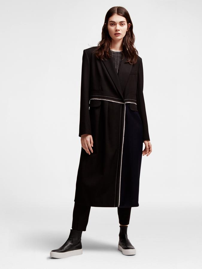 DKNYMixed Media Long Coat