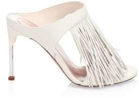Alexander McQueen Women's Leather Fringe Mules - Black Silver - Size 35.5 (5.5)