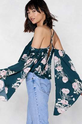 Nasty Gal Flowers Never Bend Cold Shoulder Top