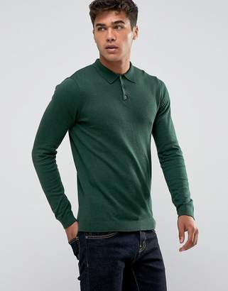 Asos Knitted Muscle Fit Polo In Bottle Green