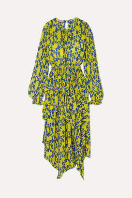 Preen Line Eden Asymmetric Ruffled Floral-print Crepe De Chine Dress
