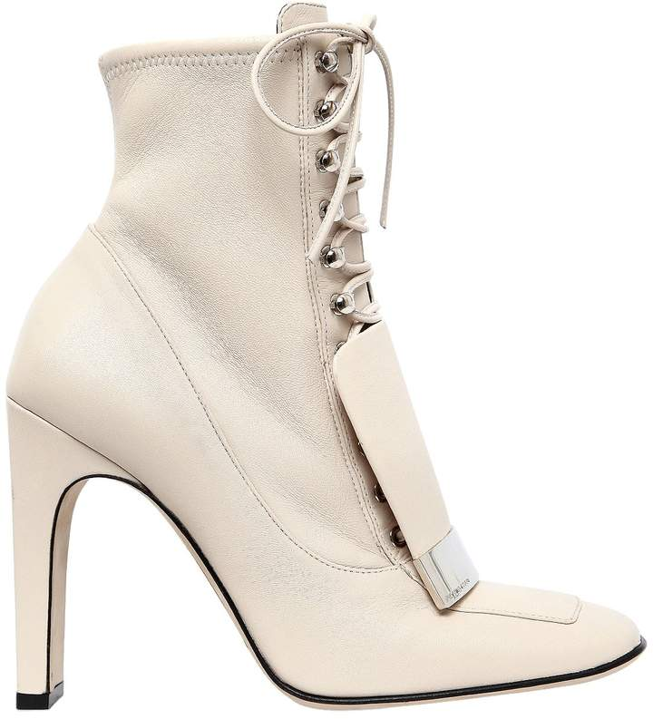 105mm Metal Plaque Leather Ankle Boots