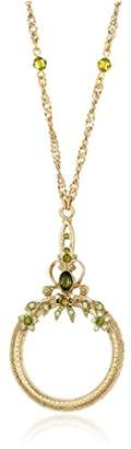 1928 Jewelry Ornate Olivine -Tone Magnifying Glass Necklace