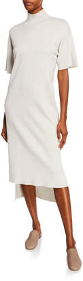 Co Short-Sleeve Mock-Neck Sweater Dress