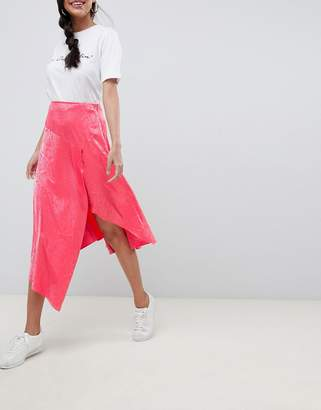 Asos DESIGN pink snake jacquard midi skirt with asymmetric hem
