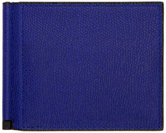 Valextra Blue Simple Grip Spring Wallet