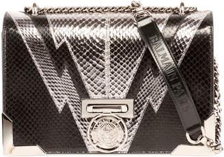 Balmain Box 25 Snakeskin Flap Shoulder Bag