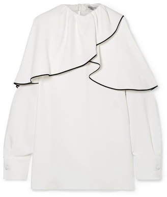 Valentino Ruffled Silk Crepe De Chine Blouse - Ivory