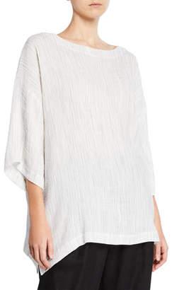 eskandar 3/4-Sleeve Crinkled Linen-Blend T-Shirt