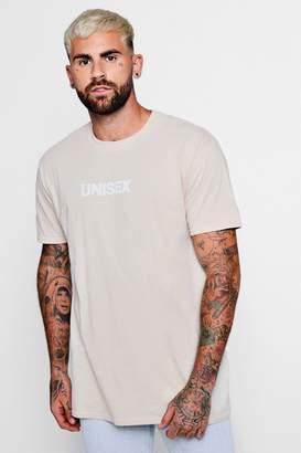 boohoo Oversized Unisex Print Crew Neck T-Shirt