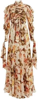 Zimmermann Resistance Ruched Silk Floral Dress