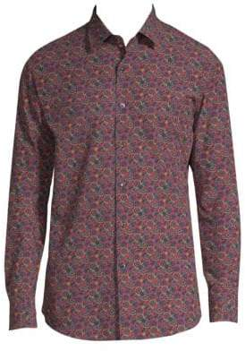 Salvatore Ferragamo Gancino Slim-Fit Print Shirt