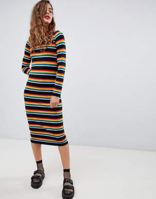Monki jersey midi dress in rainbow stripe