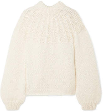 Ganni Julliard Bow-embellished Mohair And Wool-blend Sweater - Cream