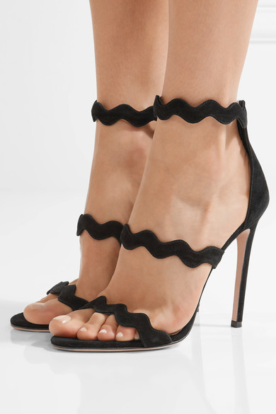 Prada - Scalloped Suede Sandals - Black 4