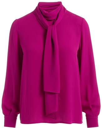 WtR - Ida Pink Scarf Silk Blouse