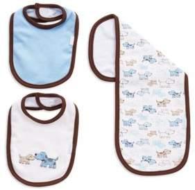 Little Me Three-Piece Puppy Bib And Cloth Set