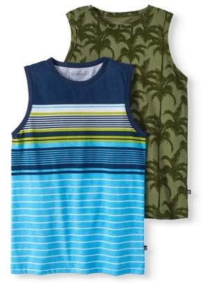 Cherokee Boys' Stripe And Palm Tree Print 2 Pack Tank Top